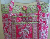 Spring green & pink paisley tote bag, purse