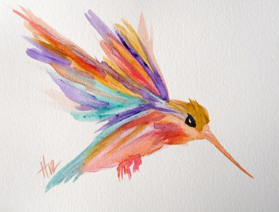Humming bird, brightly colored, original watercolor painting
