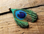Heart Shaped Peacock Feather Pendant - Jewelery or Scrapbooking Supplies - Hole for Chain Attachment (Chain not included)