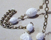 1960s SARAH COVENTRY Silver and White Lucite Etched Beaded Necklace 10% Discount