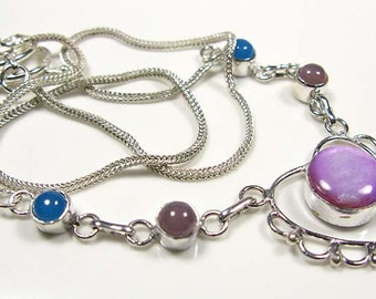 VALENTINES GIFT....Mother Of Pearl CHALCEDONY Heart Necklace 925 Silver