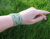 Sage Green Holly Leaf  Lace Wedding  Bracelet with Forest Green Frosted Glass Beads - Ready To Ship
