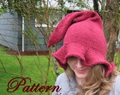 Women's Witch or Elf Hat Pattern, Adult hat pattern