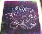 """Peony Flower in Purples- Hand-Colored Art Tile - 6"""" x 6""""- accent tile for kitchen or bath, wall art, trivet"""