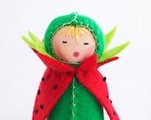 Watermelon Felt Doll - Miniature Red Green Summer Picnic Decor