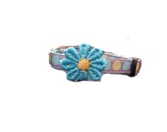Pale Lilac with jumbo dots xs dog collar