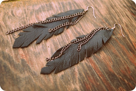 FALL SALE Lady Vixen Gypsy Leather Feather Chain Dangle Earrings
