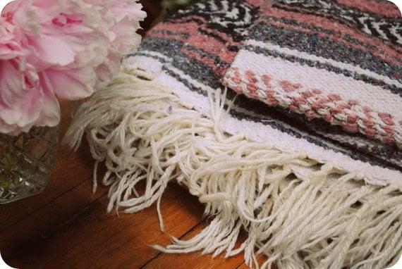 Vintage Indian Mexican Blanket Pink Rose Tribal