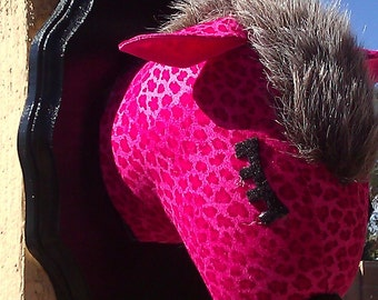 Faux Taxidermy Pink Leopard, Panther, Cryptozoology