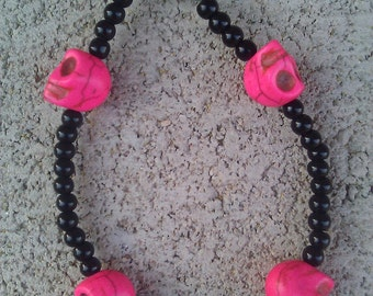 Pink and Black Skull Calavera Bracelet, Day of the Dead, Dia De Los Muertos