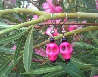 Pink Calavera Earrings, Sugar Skull, Day of the Dead, Jewelry, Kitch
