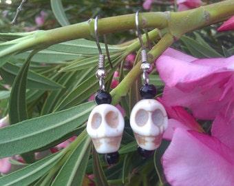 Bone White Calavera Earrings, Sugar Skull, Day of the Dead, Jewelry, Kitch