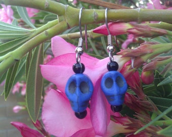 Blue Calavera Earrings, Sugar Skull, Day of the Dead, Jewelry, Kitch