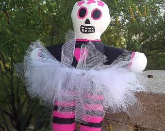 Day of the Dead Doll with White Tutu