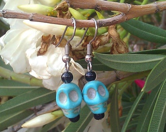 Turquoise Calavera Earrings, Sugar Skull, Day of the Dead, Jewelry, Kitch