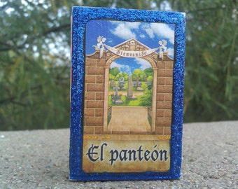 Day of the Dead Loteria Card Matchbox, Cruz de Ceniza, Cross, Cemetary