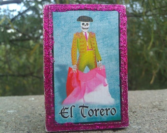 Day of the Dead Loteria Card Matchbox, Bull Fighter, Cock Fighter