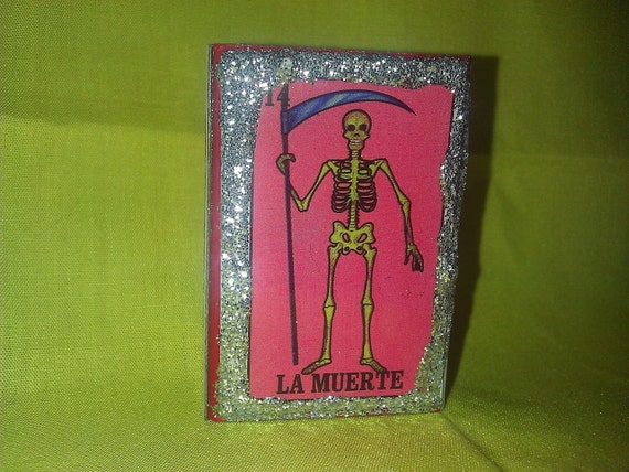 Matchbox Loteria Death and Devil Glitter