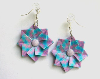 Origami Earrings - Blue and Purple Paper Jewelry - Paper Anniversary Gift - Origami Jewelry - Paper Earrings