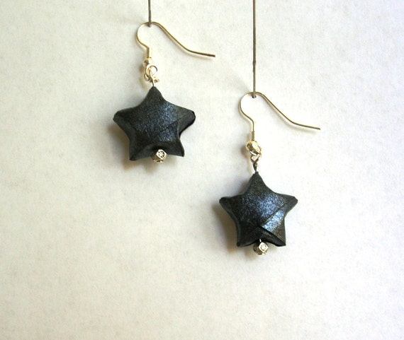 Origami Earrings - Black Lucky Stars with Silver Spacer Beads