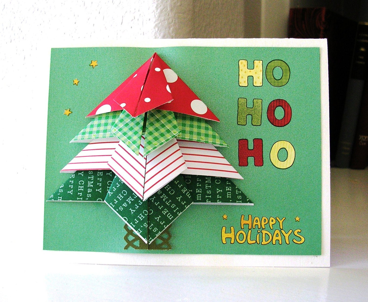 Christmas Card Handmade Origami Tree Christmas Card - photo#13