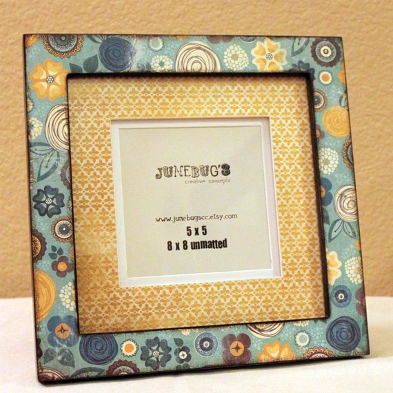 Wooden Photo Frame- Personalized Teal Blue Dark Yellow Flowers
