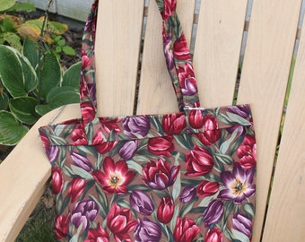Tote- Large Pink and Purple Tulip Print