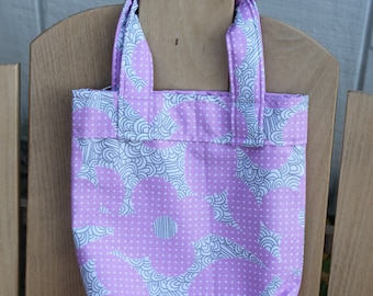 Girls Tote Bag - Small Pink Grey Flowers