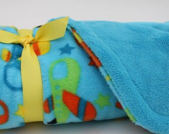 Baby Blanket Minky Boy Airplanes Blue Handmade