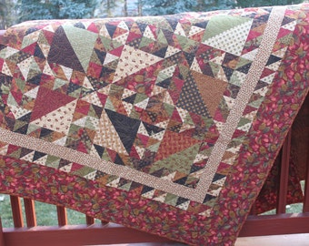 Lap Quilt - Small Double Bed Quilt- Forest Floor- Moda- Peace and Plenty - Brown Red Cream Green Gold - Handmade Quilt-