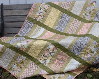 Lap Quilt - Retro 70's Print Quilt- Green Orange Yellow - Yellow Minky Backing-  Handmade Quilt