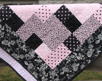 Lap Quilt - Light Pink and Black Sparkly Quilt -  Handmade Quilt-