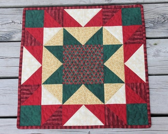 Christmas Table Runner -Wall hanging Square - Red Green Gold- Christmas Star - Handmade Quilt