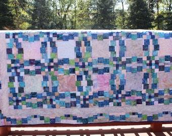 Queen Quilt - Monet's Wedding Ring - Batik Prints - Handmade Quilt-