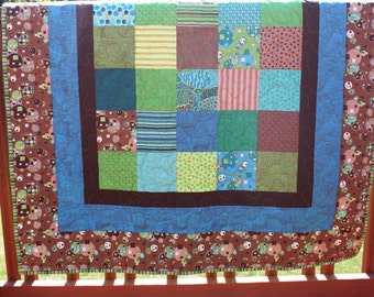Baby Quilt - Urban Odyssey Moda Fabric With Minky Backing