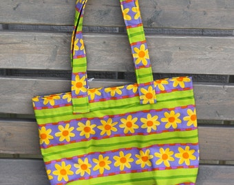 Girls Tote Bag- Purple Green Daisy Flowers size small