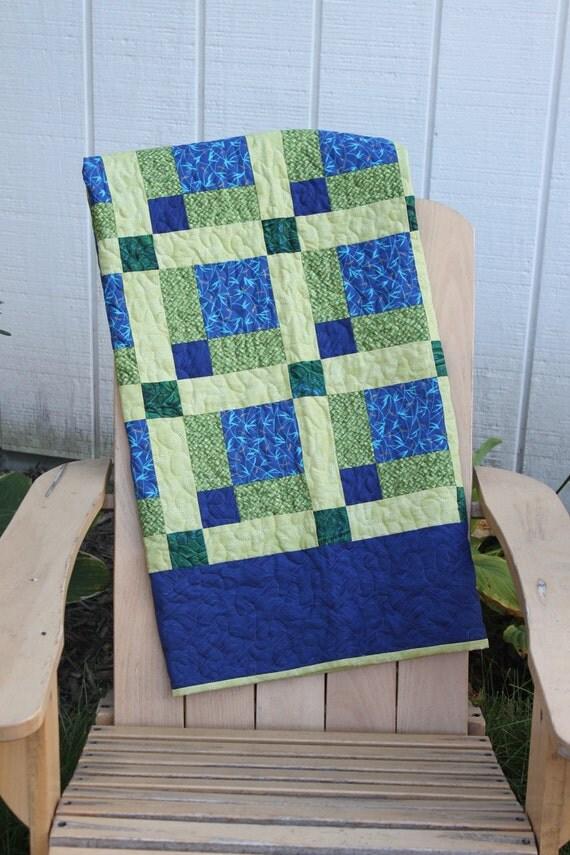Lap Quilt- Green, Navy Blue, Celery Green