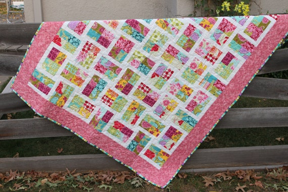 Toddler Quilt - Girl- Pink Turquoise Green - Reversible -