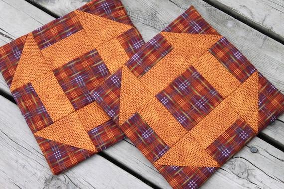 Fall Potholders Trivets Set of Two Handmade Quilt Block Churn Dash Orange Red