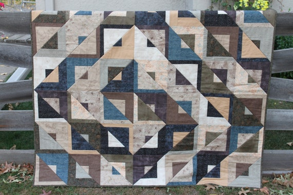 Lap Quilt - Crooked Mile Block- Moda- Evening Mist- Blue Tan Brown Black - Handmade-