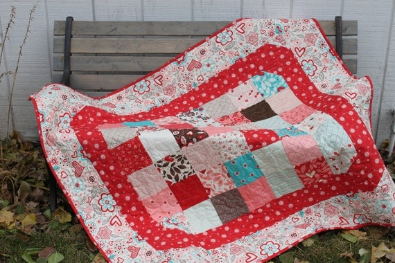 Baby Quilt - Moda  Giddy - Red Turquoise Brown Cutting Corners With Red  Minky Backing