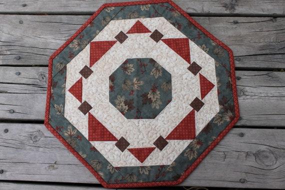 Fall Table Runner- Round -Moda- Dusty Blue, Orange, Brown, Leaves  Fall Wreath- Handmade Quilt