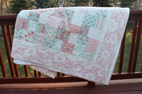 Lap Quilt / Small Double - Four Patch Flip- Moda- Martinique Line -  Handmade Quilt-