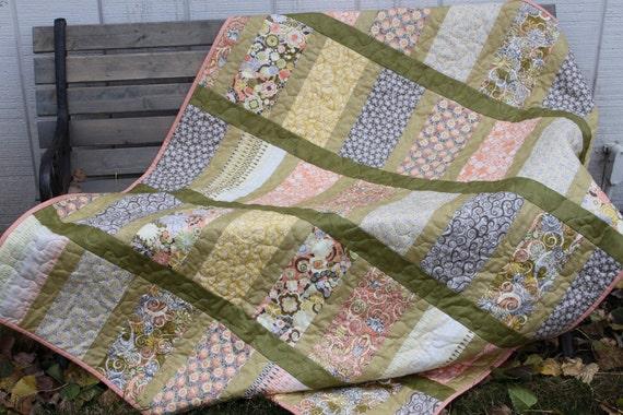 Lap Quilt - Retro 70's Print Quilt- Green Orange Yellow - Yellow Minky Backing-  Handmade Quilt
