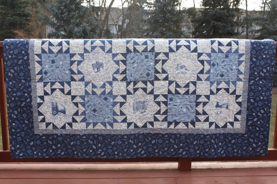 Queen Quilt  - Large Full Quilt- Minnesota Winter Star - Moda Minnesota 2010 Limited Edition Fabric Line - Blue and White- Handmade Quilt-