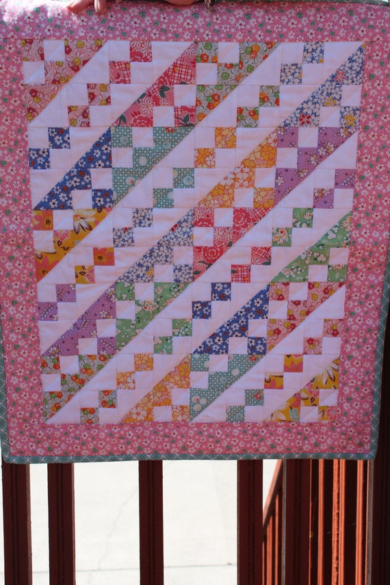 """Doll Quilt- Perfect for a Little Girl- """"For my Dolly"""" Reproduction 30's fabrics- handmade quilt"""
