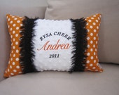 Personalized Pillow - Monogrammed Accent Pillow with Minky and Polka Dot Fabric