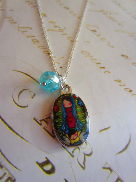 St Mary enamel pendant silver plated necklace