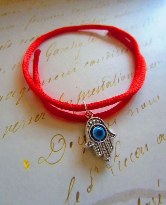 SALE % Hamsa string,Evil Eye motif, silver plated on red cord