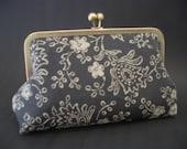 Handmade Vintage Japanese  Silk Kimono Fabric 8 inch kisslock Clutch/Purse
